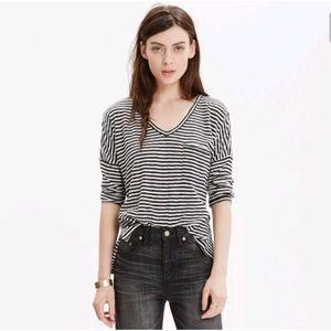 Madewell melody black white stripe pocket T shirt